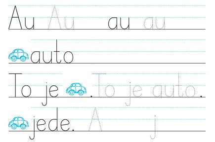 Au au, nové písmo, to to bolí, au au.