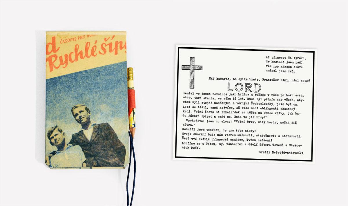 František Himl na obálce Vpředu, která posloužila jako potah zápisníku, a jeho nekrolog v oddílovém časopise Malibu 212 (květěn 1945).