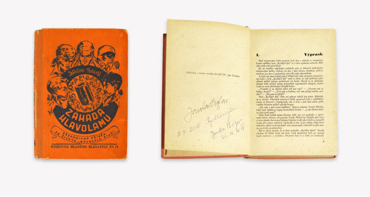Záhada hlavolamu (Melantrich, 1941), podepsáno Foglarem, Jindrou Hojerem a Rychlonožkou
